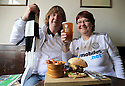 11/05/14<br /> <br /> Nick (52) and Vivien (52) Perkins with a 'Dave McHaggis' burger and a pre-match beer at the The Exeter Arms, Exeter Street, running a match day menu.<br /> <br /> All Rights Reserved - F Stop Press.  www.fstoppress.com. Tel: +44 (0)1335 300098