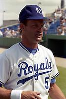 Kansas City Royals first baseman George Brett during spring training circa 1989 at Baseball City Stadium in Davenport, Florida.  (MJA/Four Seam Images)