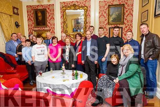 50th Birthday : Catherine McCall, Tarbert & Dublin, centre red scarf, celebrating her 50th birthday with family & friends at the Listowel Arms Hotel on Saturday night last.