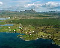 Vikurnes, Stuðlar, Vogar I, II, III og IV, Björk og Hólmar séð til norðurs, Mývatn, Reykjahlíð og Hlíðarfjall í bakgrunni. Skútustaðahreppur. / Vikurnes, Studlar, Vogar I, II, III and IV, Bjork and Holmar viewing north, lake Myvatn, Reykjahlid (village) and mount Hlidarfjall in background. Skutustadahreppur.