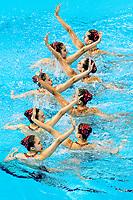 Republic of Korea KOR<br /> BAEK Seoyeon KIM Jihye<br /> KIM Junhee KOO Yemo<br /> LEE Gabin LEE Jae Hyun<br /> LEE Riyoung LEE Youjin<br /> Gwangju South Korea 17/07/2019<br /> Artistic Swimming Team Free Preliminaries<br /> 18th FINA World Aquatics Championships<br /> Yeomju Gymnasium <br /> Photo © Giorgio Scala / Deepbluemedia / Insidefoto