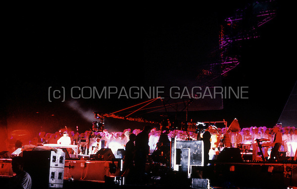 "Jean Michel Jarre's spectacular ""Concert For Tolerance"" at the Eiffel Tower in Paris in front of an audience of 1200000 people, to celebrate the 50th anniversary of the Unesco organisation (France, 14/07/1995)"