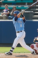 Austin Green #8 of the University of San Diego Toreros bats against the Loyola Marymount Lions at Page Stadium on April 5, 2013 in Los Angeles, California. (Larry Goren/Four Seam Images)