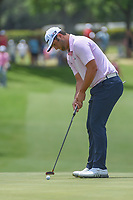 Jon Rahm (ESP) sinks his par putt on 18 during round 3 of the Fort Worth Invitational, The Colonial, at Fort Worth, Texas, USA. 5/26/2018.<br /> Picture: Golffile | Ken Murray<br /> <br /> All photo usage must carry mandatory copyright credit (&copy; Golffile | Ken Murray)