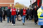 Wrexham 2 Ebbsfleet United 0, 18/11/2017. The Racecourse Ground, National League. Ebbsfleet fans with a drum. Photo by Paul Thompson.