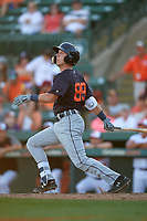 Detroit Tigers second baseman Kody Clemens (89) follows through on a swing during a Grapefruit League Spring Training game against the Baltimore Orioles on March 3, 2019 at Ed Smith Stadium in Sarasota, Florida.  Baltimore defeated Detroit 7-5.  (Mike Janes/Four Seam Images)
