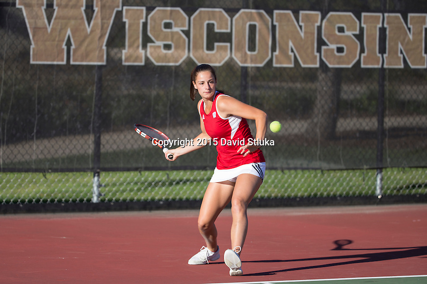 Simulated action photo of Wisconsin Badgers tennis women's player Maria Avgerinos on Monday, September 21, 2015, in Madison, Wis. (Photo by David Stluka)