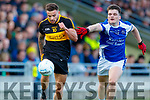 Michael Burns Dr Crokes in action against Karl Mullins  Kerins O'Rahillys in the Kerry Senior Football County Championship Semi Final between Dr Crokes and Kerins O'Rahillys at Austin Stack Park on Sunday.