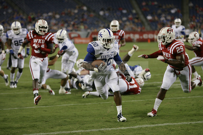UK tailback Josh Clemons runs into the endzone during the first half of UK's season opener against Western Kentucky at LP Field in Nashville, Tennessee. Monday, Sept. 1, 2011 in Lexington, Ky.  Photo by Brandon Goodwin | Staff