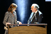 - NO TABLOIDS, NO SITE WEB - Winners Evening of the Prince Pierre of Monaco Foundation at the Opera Garnier, Monaco. H.S.H. Prince Albert II of Monaco and H.R.H. Princess Caroline of Hanover attend the ceremony and Princess Caroline gives two literary prizes : the Literary Prize to Adonis for his whole work and the 'Bourse de la DÈcouverte' to Paul Greveillac for his book 'Les 'mes Rouges'. H.R.H. Princess Caoline of Hanover with FrÈdÈric Mitterrand.