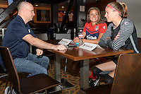 Houston, TX - Thursday Oct. 06, 2016: Shelia Zadorsky, Stephanie Labbe during media day prior to the National Women's Soccer League (NWSL) Championship match between the Washington Spirit and the Western New York Flash at BBVA Compass Stadium.