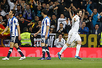 24.03.2012 SPAIN -  La Liga matchday 30th  match played between Real Madrid CF vs Real Sociedad (5-1) at Santiago Bernabeu stadium. The picture show Gonzalo Higuain (Argentine/French Forward of Real Madrid) celebrating his team's goal