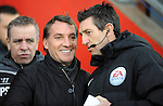 Liverpool Manager Brendan Rodgers talks with the Fourth Official L Probert - Barclays Premier League - Southampton vs Liverpool - St Mary's Stadium - Southampton - England - 22nd February 2015 - Pic Robin Parker/Sportimage