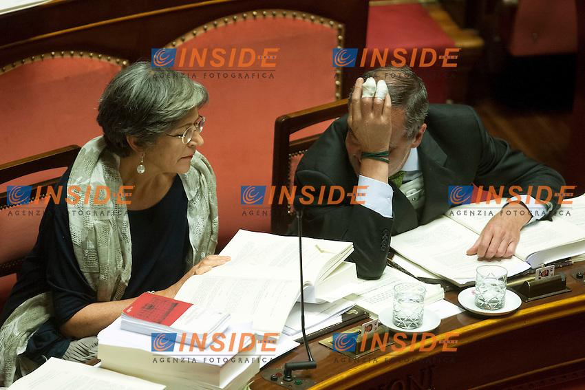 Anna Finocchiaro e Roberto Calderoli<br /> Roma 30-07-2014  Senato. Discussione sul DdL Riforme costituzionali che prevede anche la riforma del Senato. <br /> Photo Samantha Zucchi Insidefoto