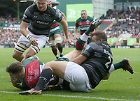 Leicester Tigers' George Ford scores his side's first try despite the attentions of Newcastle Falcons' George McGuigan <br /> <br /> Photographer Stephen White/CameraSport<br /> <br /> Gallagher Premiership Round 2 - Leicester Tigers v Newcastle Falcons - Saturday September 8th 2018 - Welford Road - Leicester<br /> <br /> World Copyright &copy; 2018 CameraSport. All rights reserved. 43 Linden Ave. Countesthorpe. Leicester. England. LE8 5PG - Tel: +44 (0) 116 277 4147 - admin@camerasport.com - www.camerasport.com