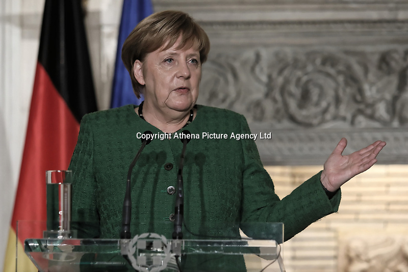 Pictured: German Chancellor Angela Merkel during a joint press conference held at Maximou Mansion (Megaro Maximou) in Athens, Greece.<br /> Re: Official visit of German Chancellor Angela Merkel  to Athens, Greece.
