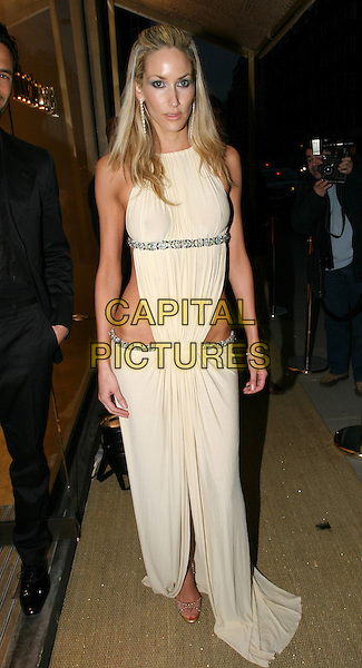LISA BUTCHER.Roberto Cavalli - store launch party.May 13th, 2004.full length, full-length, see through, see thru, silver belt, greek, roman style dress.www.capitalpictures.com.sales@capitalpictures.com.© Capital Pictures.