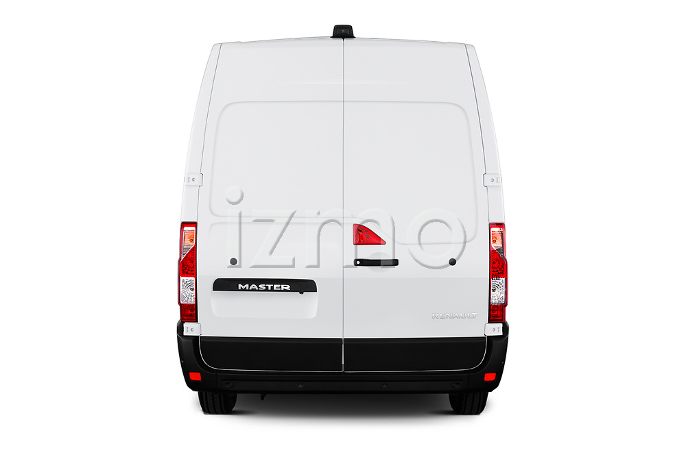 Straight rear view of a 2020 Renault Master Confort 4 Door Cargo Van stock images