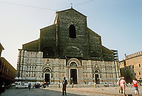 Italy: Bologna--Piazza Maggiore. Basilica San Petronio--begun 1390, never finished. Photo '83.