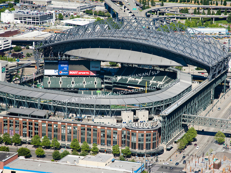 An aerial view of Safeco Field with the retractable roof open.