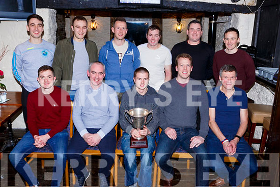 The Glenflesk Junior team that were presented with their East Kerry junior Chmapionship medals in the The Kerry Way bar on Saturday night front row l-r: Ciara O'Mahony, Donie O'Donovan, Padraig O'Rahilly, Eric O'Donoghue, Padraig Lucey. Back row: Brian O'Donoghue, Ciaran O'Donoghue, Shay dennehy, Stephen O'Donoghie, Jerry Kennedy and Michael O'Shea