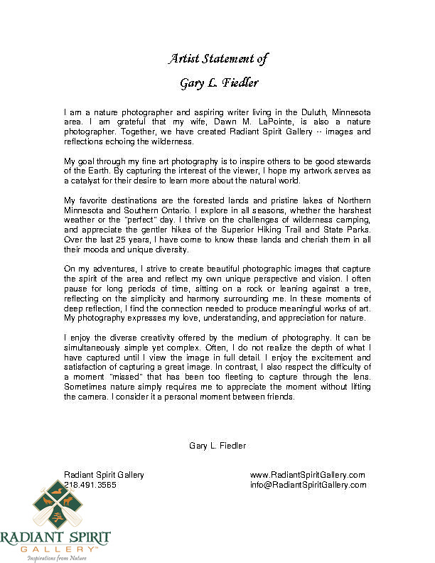 Artist Statement of Gary L. Fiedler