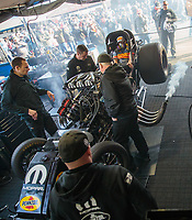 Feb 24, 2019; Chandler, AZ, USA; Crew members with NHRA funny car driver Matt Hagan during the Arizona Nationals at Wild Horse Pass Motorsports Park. Mandatory Credit: Mark J. Rebilas-USA TODAY Sports