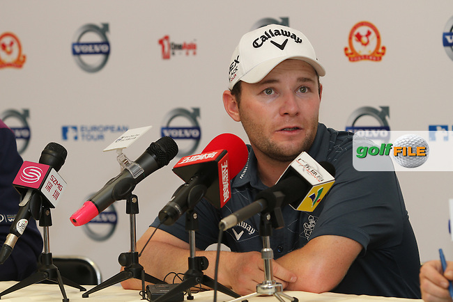 Branden Grace (RSA) in the interview room after Day 3 of the 2012 Volvo China Open at Binhai Lake Golf Club, Tianjin, China...(Photo Jenny Matthews/www.golffile.ie)