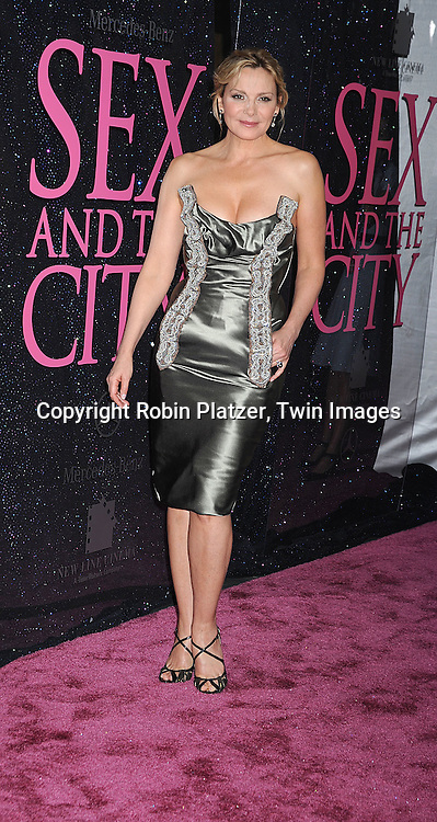 """Kim Cattrall in Vivienne Westwood dress..posing for photographers at The New York Premiere of the ..""""Sex and The City"""" movie  on May 27, 2008 at Radio City Music Hall. ....Robin Platzer, Twin Images"""