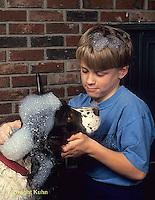BH22-054x  Bubbles - boy washing his dog