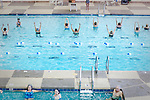 An aquatic exercise class takes place at the Sundial Recreation Center, just one of seven pools in Sun City, Arizona.