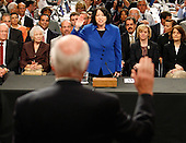 Washington, DC - July 13, 2009 -- United States Supreme Court nominee Judge Sonia Sotomayor is sworn in by U.S. Senator Patrick Leahy (Democrat of Vermont) on the first day of confirmation hearings before the U.S. Senate Judiciary Committee on Capitol Hill in Washington on July 13, 2009. .Credit: Jim Bourg - Pool via CNP