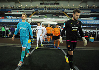 Pictured: (L-R) Gregor Zabret of Swansea City and Jack Ruddy of Wolverhampton Wanderers  exit the tunnel Monday 13 March 2017<br /> Re: Premier League 2, Swansea City U23 v Wolverhampton Wanderers FC at the Liberty Stadium, Swansea, UK