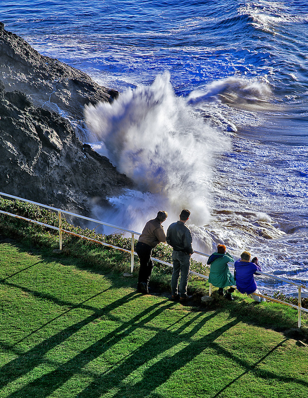 People looking for whales at Heceta Head. Devils Elbow State Park, Oregon.