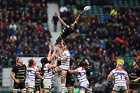 Lewis Ludlam of Northampton Saints loses the ball at a lineout. Gallagher Premiership match, between Northampton Saints and Leicester Tigers on October 6, 2018 at Twickenham Stadium in London, England. Photo by: Patrick Khachfe / JMP