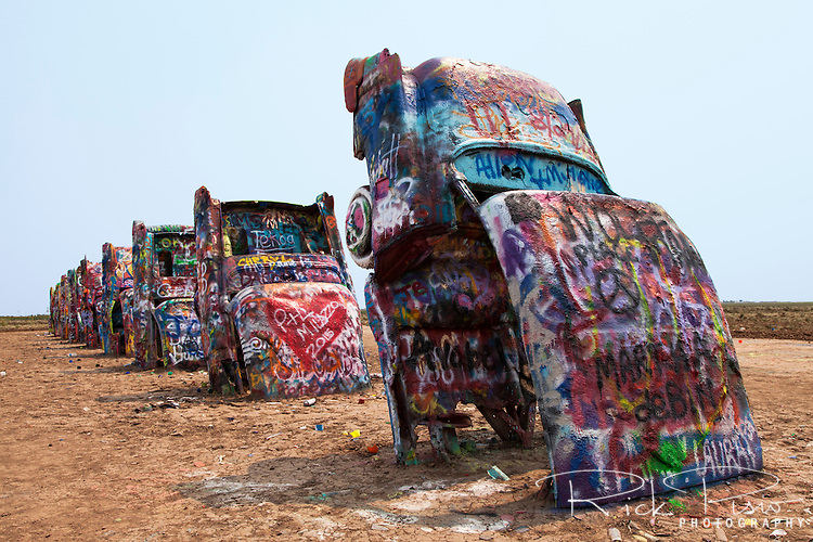 Graffitti covered Cadillacs at Cadillac Ranch along Route 66 east of Amarillo, Texas.