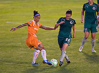 Sky Blue FC forward Natasha Kai (6) and Saint Louis Athletica defender Kendall Fletcher (24) during a WPS match at Anheuser Busch Soccer Park, in St. Louis, MO, July 22 2009. Athletica won the match 1-0.