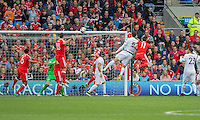 Gareth Bale of Wales scores his side's first goal during the FIFA World Cup Qualifier match between Wales and Georgia at the Cardiff City Stadium, Cardiff, Wales on 9 October 2016. Photo by Mark  Hawkins / PRiME Media Images.