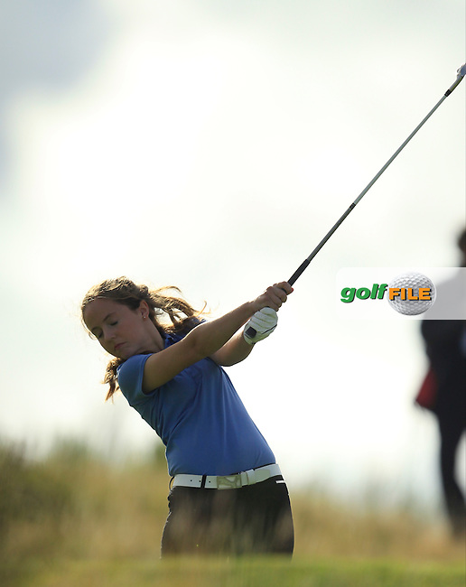 Molly Richmond on the 10th tee for Tom Watson's team.<br /> Ryder Cup Captains Paul McGinley and Tom Watson supporting the development of youth golf at Gleneagles and to mark the Year To Go to the 2014 Ryder Cup at Gleneagles.<br /> Picture:  Thos Caffrey / www.golffile.ie