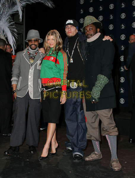 BLACK EYED PEAS - TABOO, WILL.I.AM, FERGIE & APL.DE.AP.The 47th Annual Grammy Award Nominees Announcements. The announcements were held at The Music Box in Hollywood, California .December 7th, 2004.full length, three quarter length trousers, green zip up top, hat.www.capitalpictures.com.sales@capitalpictures.com.Supplied By Capital PIctures