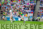Paul Murphy, Kerry in action against Peter Kelly, Kildare in the All Ireland Quarter Final at Croke Park on Sunday.