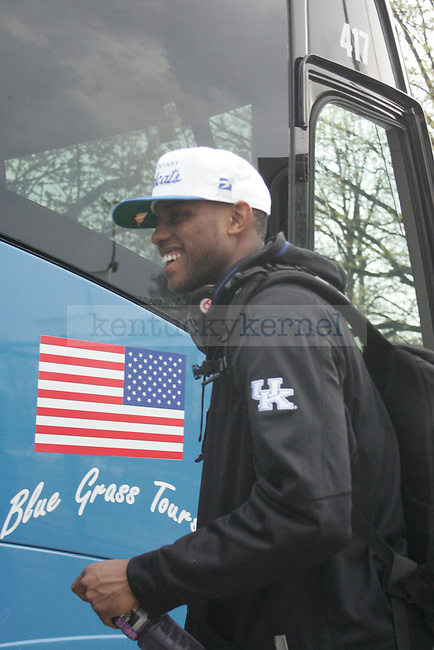 UK guard Darius Miller gets on the bus to leave for New Orleans for the Final Four game in Lexington, Ky. on March 28, 2012. Photo by Quianna Lige | Staff