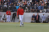 Justin Thomas (USA) on the 10th green during the First Round - Four Ball of the Presidents Cup 2019, Royal Melbourne Golf Club, Melbourne, Victoria, Australia. 12/12/2019.<br /> Picture Thos Caffrey / Golffile.ie<br /> <br /> All photo usage must carry mandatory copyright credit (© Golffile | Thos Caffrey)