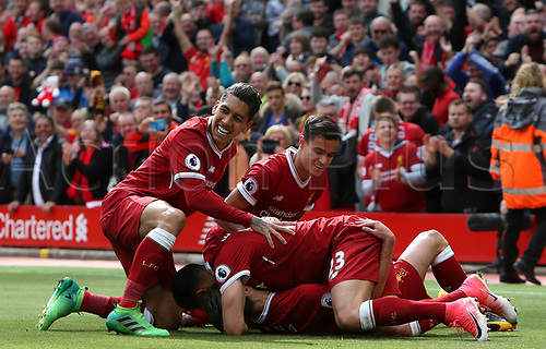 May 21st 2017, Anfield, Liverpool, Merseyside; EPL Premier league football, Liverpool versus Middlesbrough; Roberto Firmino, Philippe Coutinho, Emre Can and Adam Lallana  of Liverpool celebrate their team's 3-0 lead