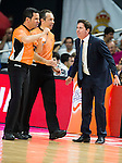 Barcelona's coach Xavi Pascual talking with the Referees during Liga Endesa 2015/2016 Finals 3rd leg match at Barclaycard Center in Madrid. June 20, 2016. (ALTERPHOTOS/BorjaB.Hojas)