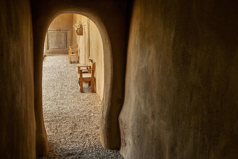 Arched walkway at Hacienda de los Martinez museum, Taos, New Mexico