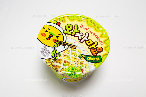 Wasabi-flavored Korean cup noodles, Sep 28, 2017 : Wasabi-flavored Korean instant cup noodles in Seoul, South Korea. (Photo by Lee Jae-Won/AFLO) (SOUTH KOREA)