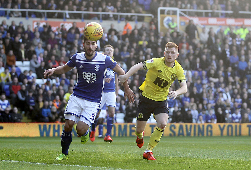 Blackburn Rovers Harrison Reed in action with Birmingham City's Maxime Colin<br /> <br /> Photographer Mick Walker/CameraSport<br /> <br /> The EFL Sky Bet Championship - Birmingham City v Blackburn Rovers - Saturday 23rd February 2019 - St Andrew's - Birmingham<br /> <br /> World Copyright © 2019 CameraSport. All rights reserved. 43 Linden Ave. Countesthorpe. Leicester. England. LE8 5PG - Tel: +44 (0) 116 277 4147 - admin@camerasport.com - www.camerasport.com