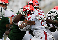 NWA Democrat-Gazette/CHARLIE KAIJO Arkansas Razorbacks running back Devwah Whaley (21) runs the ball during the first quarter of a football game, Saturday, September 8, 2018 at Colorado State University in Fort Collins, Colo.
