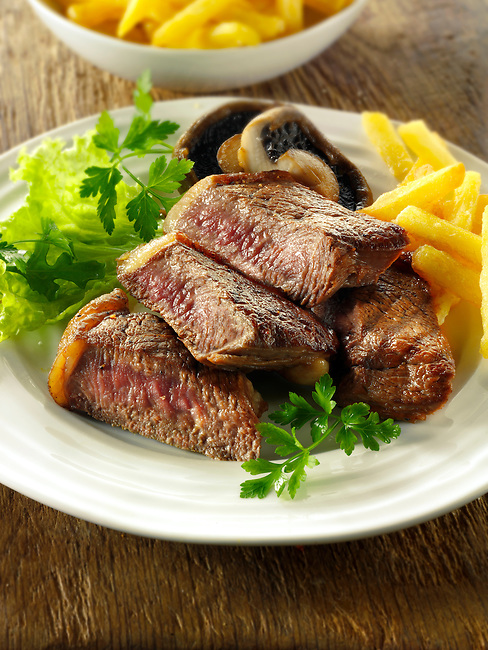 Sirloin steak, chips  & salad